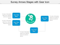 Survey Arrows Stages With Gear Icon Ppt PowerPoint Presentation Icon Ideas PDF