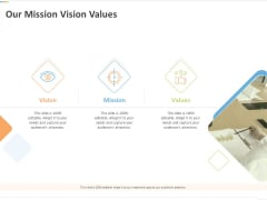 Sustainable Competitive Advantage Management Strategy Our Mission Vision Values Ppt Inspiration Styles PDF