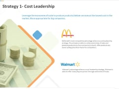 Sustainable Competitive Advantage Management Strategy Strategy 1 Cost Leadership Ppt Model Design Inspiration PDF