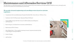 Sustainable Green Manufacturing Innovation Maintenance And Aftersales Services Service Infographics PDF