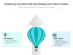 Sustaining Innovation With Idea Shaping And Value Creation Ppt PowerPoint Presentation Inspiration Objects PDF