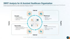 Swot Analysis For AI Assisted Healthcare Organization Diagrams PDF