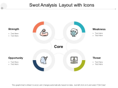 Swot Analysis Layout With Icons Ppt PowerPoint Presentation Ideas Objects