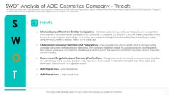 Swot Analysis Of ADC Cosmetics Company Threats Icons PDF