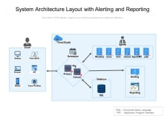 System Architecture Layout With Alerting And Reporting Ppt PowerPoint Presentation Gallery Layouts PDF