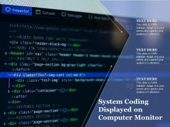 System Coding Displayed On Computer Monitor Ppt PowerPoint Presentation Gallery Graphics Design PDF