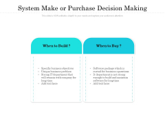 System Make Or Purchase Decision Making Ppt PowerPoint Presentation Layouts Pictures PDF