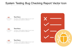 System Testing Bug Checking Report Vector Icon Ppt PowerPoint Presentation Show Demonstration PDF