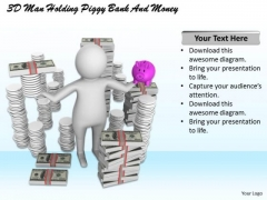 Sales Concepts 3d Man Holding Piggy Bank And Money Character