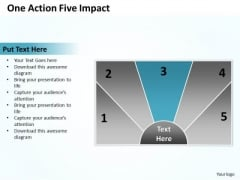 Sample Business Model Diagram One Action Five Impact PowerPoint Slides
