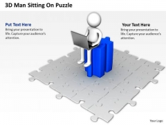 Sample Business Organizational Chart 3d Man Sitting Puzzle PowerPoint Templates