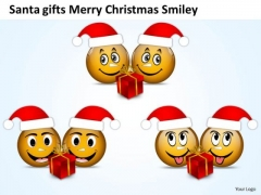 Santa Gifts Merry Christmas Smiley Business Process Flowchart PowerPoint Slides