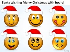 Santa Wishing Merry Christmas With Board Work Flow Charts PowerPoint Slides