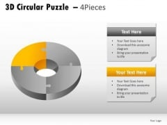 Saturation 3d Circular Puzzle 4 Pieces PowerPoint Slides And Ppt Diagram Templates