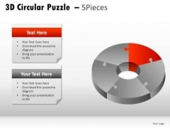 Segment 3d Circular Puzzle 5 Pieces PowerPoint Slides And Ppt Diagram Templates