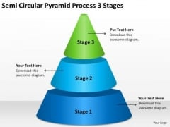 Semi Circular Pyramid Process 3 Stages Ppt Business Plan Components PowerPoint Templates