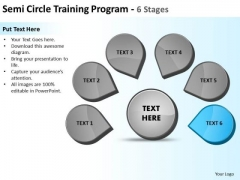 Semicircle Training Program 6 Stages Ppt Cycle Spoke Network PowerPoint Slides