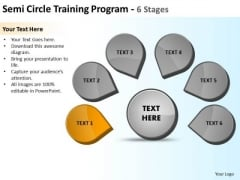 Semicircle Training Program 6 Stages Ppt Relative Cycle Arrow Process PowerPoint Slides