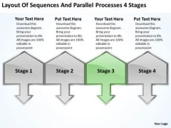 Sequences And Parallel Processes 4 Stages Business Plan Outline Sample PowerPoint Templates