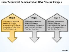 Sequential Demonstration Of Process 3 Stages Business Plan Free PowerPoint Templates