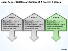 Sequential Demonstration Of Process 3 Stages Ppt Business Plans Software PowerPoint Slides