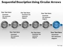 Sequential Description Using Circular Arrows Workflow Management PowerPoint Slides