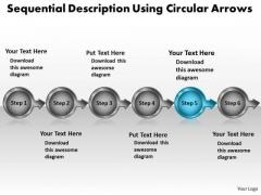 Sequential Description Using Circular Arrows Working Flow Chart PowerPoint Slides