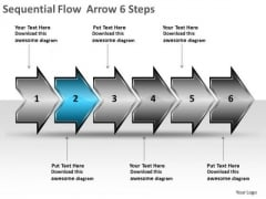 Sequential Flow Arrow 6 Steps Business Process Charts PowerPoint Templates