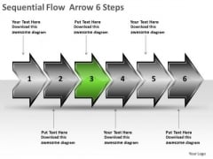 Sequential Flow Arrow 6 Steps Free Chart Maker PowerPoint Templates