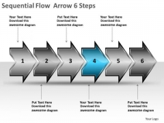 Sequential Flow Arrow 6 Steps Manufacturing Process Diagram PowerPoint Templates
