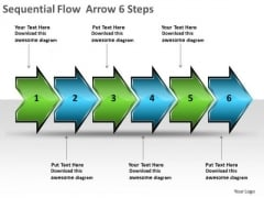 Sequential Flow Arrow 6 Steps Production Charts PowerPoint Templates