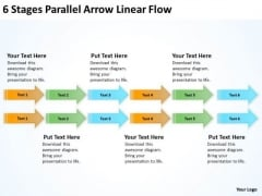 Serial And Parallel Processing 6 Stages Arrow Linear Flow PowerPoint Templates