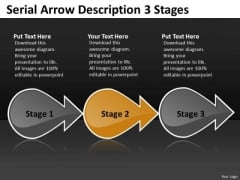 Serial Arrow Description 3 Stages Free Network Mapping PowerPoint Slides