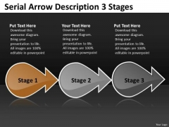 Serial Arrow Description 3 Stages New Product Flow Chart PowerPoint Templates