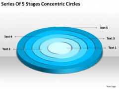 Series Of 5 Stages Concentric Circles Courier Business Plan PowerPoint Templates