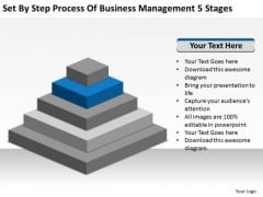 Set By Step Process Of Business Management 5 Stages Ppt Plan Tools PowerPoint Templates