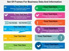 Set Of Frames For Business Data And Information PowerPoint Template