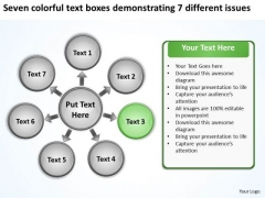 Seven Colorful Text Boxes Demonstrating 7 Different Issues Chart Gear Network PowerPoint Slides