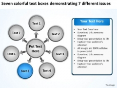 Seven Colorful Text Boxes Demonstrating 7 Different Issues Circular Gear Network PowerPoint Slides