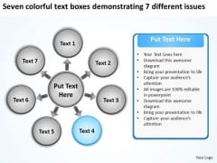 Seven Colorful Text Boxes Demonstrating 7 Different Issues Cycle Gear Network PowerPoint Slides