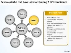 Seven Colorful Text Boxes Demonstrating 7 Different Issues Gear Network PowerPoint Slides