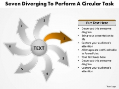 Seven Diverging Steps To Perform A Circular Task Arrow Cycle Diagram PowerPoint Templates