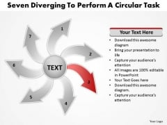 Seven Diverging Steps To Perform A Circular Task Cycle Diagram PowerPoint Template