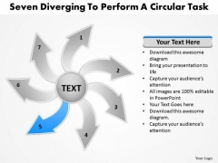 Seven Diverging Steps To Perform A Circular Task Flow Chart PowerPoint Slide