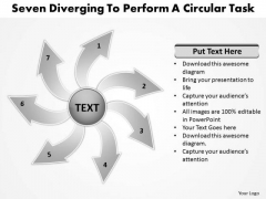 Seven Diverging Steps To Perform A Circular Task Motion Chart PowerPoint Slides