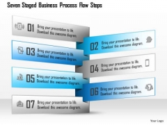 Seven Staged Business Process Flow Steps Presentation Template