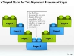 Shaped Blocks For Two Dependent Processes 4 Stages Ppt Ecommerce Business Plan PowerPoint Slides