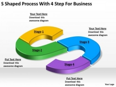 Shaped Process With 4 Step For Business Small Plan Example PowerPoint Slides