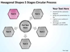 Shapes 5 Stages Circular Process Consulting Business Plan Template Free PowerPoint Slides