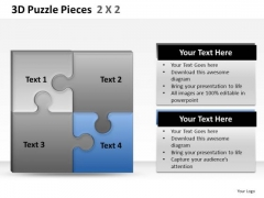 Show Synergies With 3d Puzzle Pieces 2x2 PowerPoint Slides And Ppt Diagram Templates